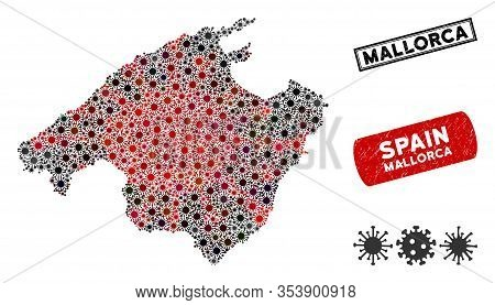 Coronavirus Collage Mallorca Map And Grunge Stamp Watermarks. Mallorca Map Collage Created With Rand