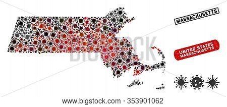 Coronavirus Collage Massachusetts State Map And Rubber Stamp Watermarks. Massachusetts State Map Col