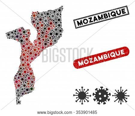 Coronavirus Collage Mozambique Map And Grunge Stamp Watermarks. Mozambique Map Collage Composed With