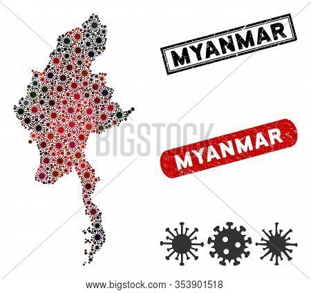 Coronavirus Collage Myanmar Map And Distressed Stamp Watermarks. Myanmar Map Collage Formed With Ran