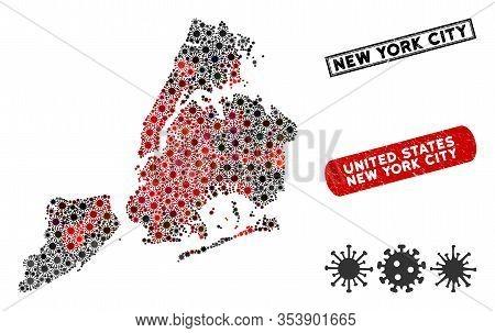 Coronavirus Collage New York City Map And Distressed Stamp Seals. New York City Map Collage Formed W