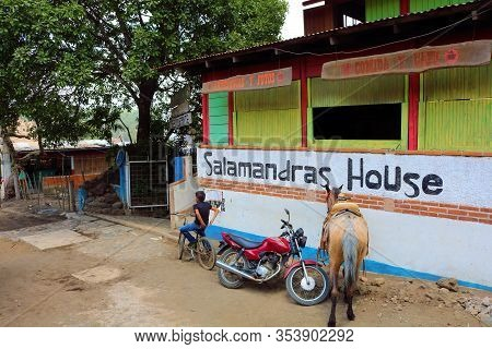 February 24, 2020 In Pacaya, Guatemala:  Salamandras House Which Is A Resort That Supplies Hikers An