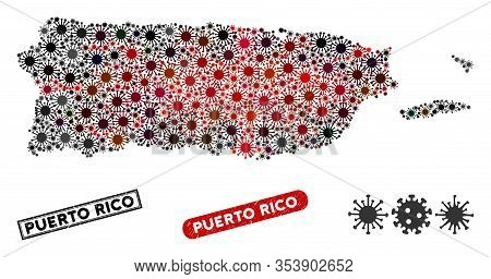 Coronavirus Collage Puerto Rico Map And Distressed Stamp Seals. Puerto Rico Map Collage Composed Wit
