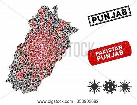 Coronavirus Collage Punjab Province Map And Rubber Stamp Seals. Punjab Province Map Collage Designed