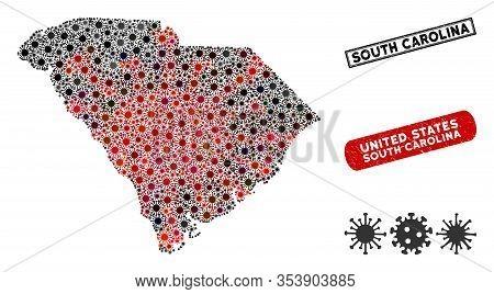 Coronavirus Mosaic South Carolina State Map And Corroded Stamp Seals. South Carolina State Map Colla