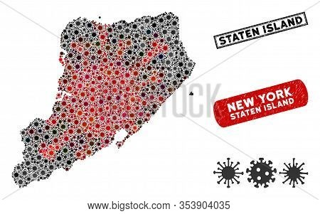 Coronavirus Collage Staten Island Map And Distressed Stamp Watermarks. Staten Island Map Collage Con