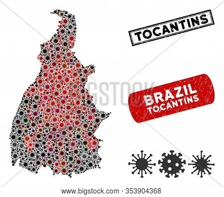 Coronavirus Collage Tocantins State Map And Grunge Stamp Watermarks. Tocantins State Map Collage For