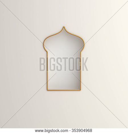 Arabic Window On White Background. Design Creative Concept Of Islamic Celebration Day Ramadan Kareem