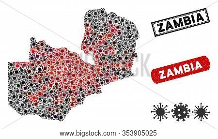Coronavirus Mosaic Zambia Map And Grunge Stamp Watermarks. Zambia Map Collage Formed With Random Red