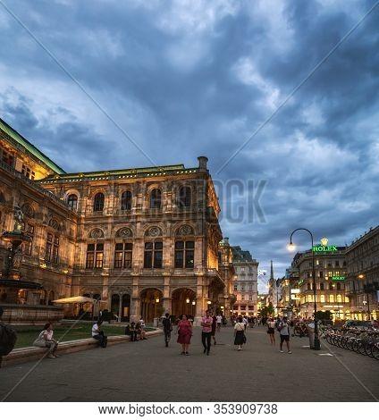 Vienna, Austria - August 19, 2019: Summer Evening Near State Opera House In Vienna, Austria. People