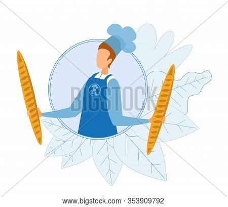 Faceless Cartoon Baker Holding Two Fresh Baked Baguettes In Round Surrounded Flat Plants Foliage. Ma