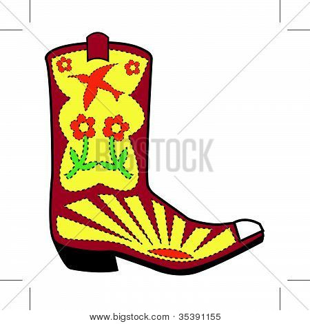 Cowgirl Boot With Swallow & Flowers Clip Art