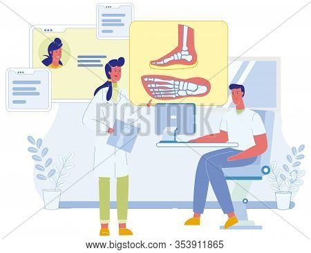 Two Male And Female Podiatrist Characters Discussing Patient Foot Deformation On X-ray Cartoon Image