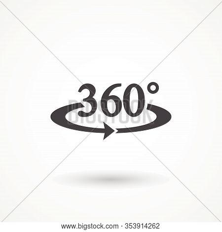 Angel 360 Degree Icon Geometry Math Symbol. Full Rotatio Isolated On White Background. Simple Logo V
