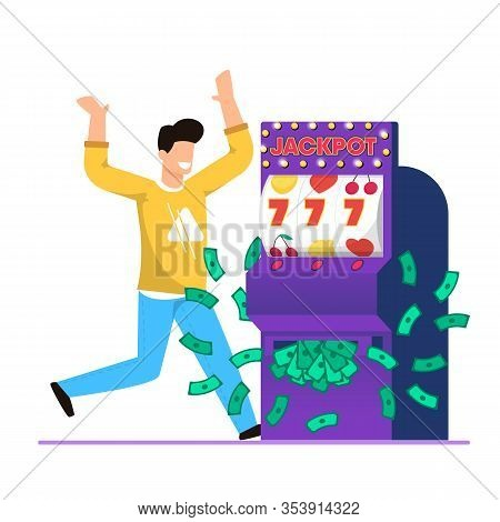 Big Win In Casino Slot Machine Cartoon Vector. Guy Exults And Rejoices At Big Money Winnings. On Scr