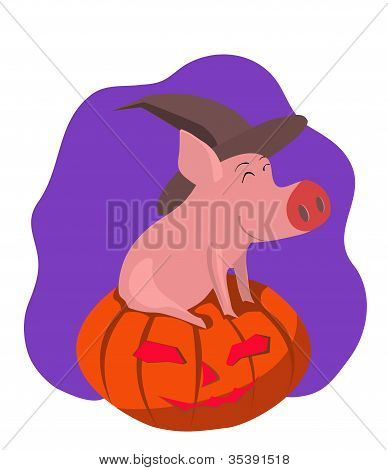 Pig in the gourd