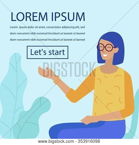 Advertisement With Cartoon Friendly Smiling Woman In Glasses Pointing On Promotional Editable Text.