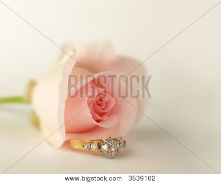 Pink Rose Bud And Diamond Ring