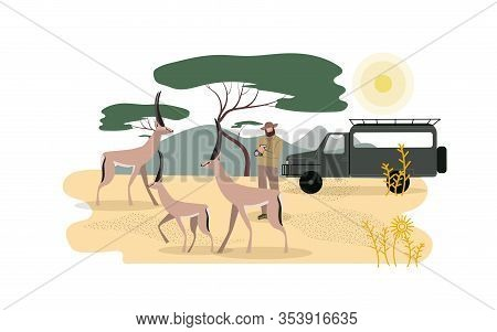 Zoologist Exploring African Fauna Illustration. Wilderness Area, Expedition To Africa. Safari, Road