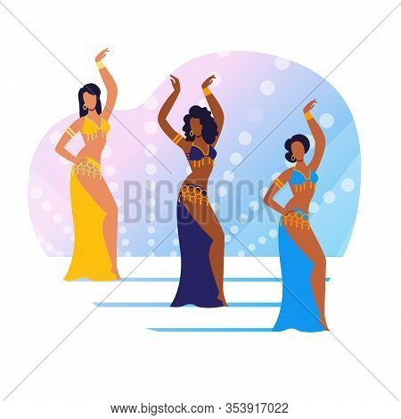 Oriental Culture Show Flat Vector Illustration. Graceful Dancers Trio, Group Cartoon Characters. You