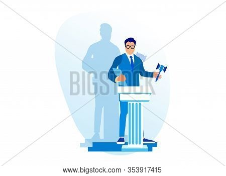 Auctioneer Raising His Wooden Gavel To Knock Down Sale To Highest Bidder Close Isolated On White Bac