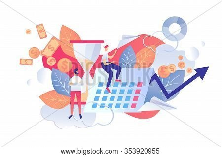 Vector Illustration Control Time And Plans Flat. Checking Plans And Priorities Day In Terms Their Im
