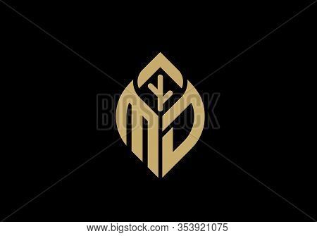 Initial Letter M And D With Abstract Leaf Logo Sign Symbol