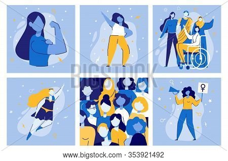 Girl Power Vector Illustration Set. Cartoon Women Together. Woman Superhero. Feminist Movement Demon