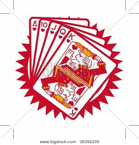 Royal Flush Poker Hand Clip Art