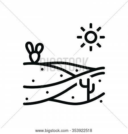 Black Line Icon For Sand Beach Silt Sandy Desert Thirst Scour Scratch Scrape Abrade Summer Island En