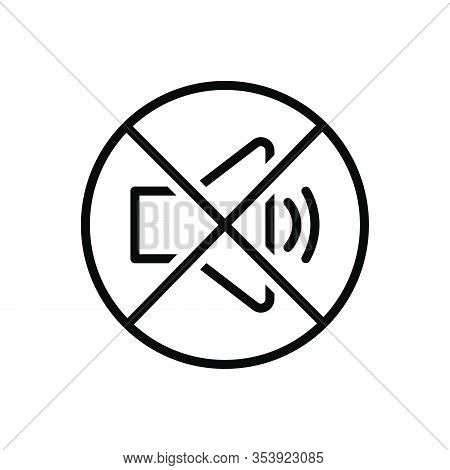 Black Line Icon For Quiet Silent Calm Tranquil Sober No-sound Caution Loudspeaker Prohibited