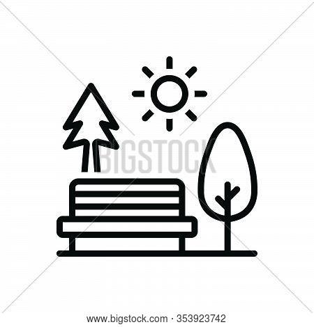 Black Line Icon For Garden Plantation Garth Belvedere Park  Steppe Champaign Greenery Bench Tree
