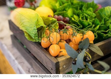 Fresh Organic Vegetables In The Box In Shop. Healthy Organic Vegetables.assorted Vegetables In Woode