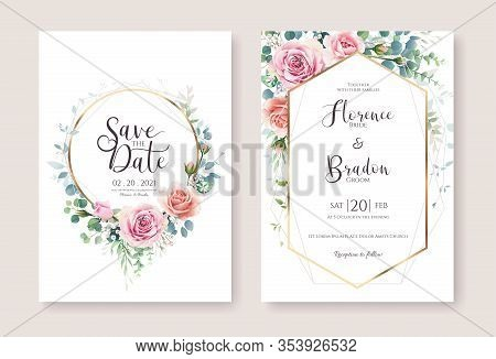 Set Of Floral Wedding Invitation Card And Save The Date Template. Vector. Pink And Orange Rose Flowe