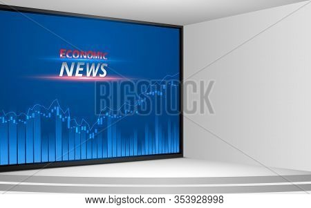 White Stand And Economic News On Lcd Screen Background In The News Studio Room