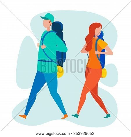 Two Backpacker Travelers Flat Vector Characters. Man And Woman With Backpacks Traveling Together. Tr