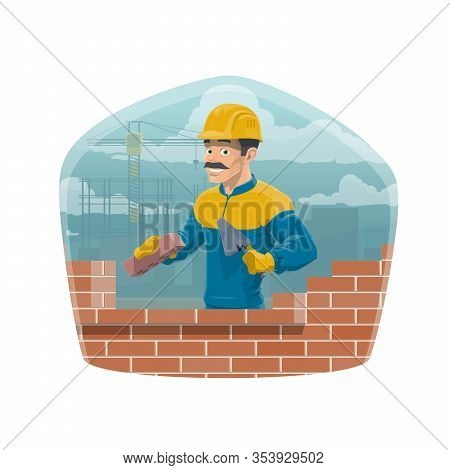 Builder And Brickwork, Architecture And House Construction Worker Profession. Vector Professional En