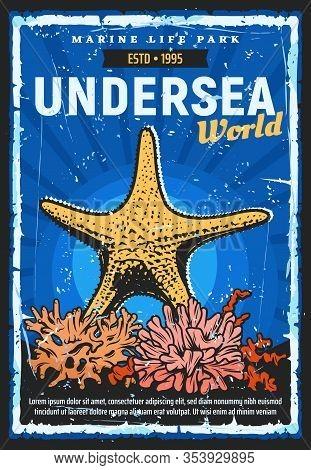 Oceanarium Undersea World Retro Poster, Aquarium And Marine Life Zoo. Vector Oceanarium Show Of Ocea