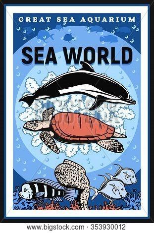 Oceanarium And Sea Underwater Aquarium Show Vintage Retro Poster. Vector Undersea Animals, Fishes An