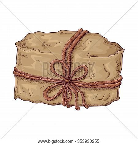 Hand Drawn Gift Illustration. Brown Craft Paper Wrapped Package Tied With Cord Or Twine. Vintage Gif