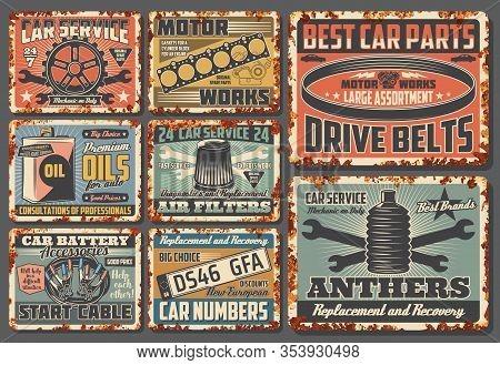 Car Service And Auto Mechanic Center Rusty Plates, Retro Posters. Vector Automotive Spare Parts Shop