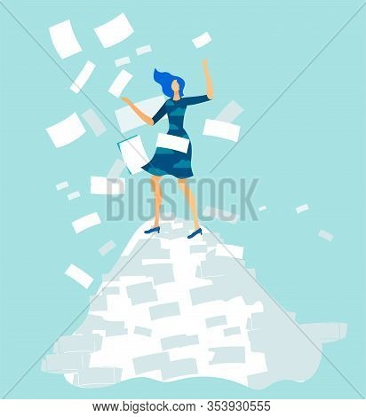 Cartoon Overworked Woman Office Worker Standing On Document Pile Under Paper Avalanche Rain. Tired F