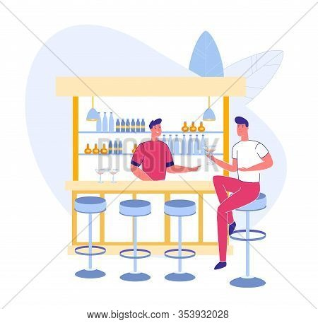 Nightlife In Bar Or Pub Scene - Barman Welcoming Client With Alcohol Beverage. Caucasian People Male