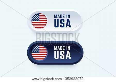 Made In Usa Label. Vector Illustration In 3d Style For United States Producers.