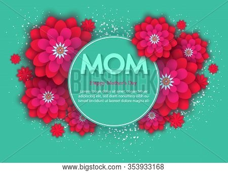 Mothers day flower card. International Happy Mother\'s Day. Holiday mothers day 3d background of red paper flower on green backdrop with square frame. Trendy design mothers day template. Vector illustration mothers day. MOM