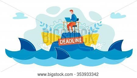 Office Worker Swims Among Sharks In Ocean Or Sea. Man Sits On Island At Table And Works On Laptop, S