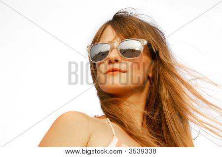 Beautiful Girl Portrait Over White