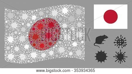 Coronavirus Mosaic Waving And Flat Japan Flag. Mosaic Vector Is Composed With Japan Flag Icon And Wi