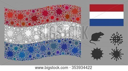 Coronavirus Mosaic Waving And Flat Netherlands Flag. Mosaic Vector Is Formed With Netherlands Flag P