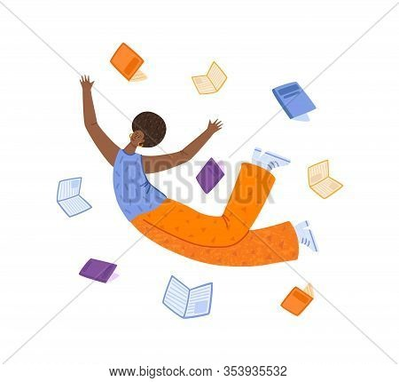 Girl Flying Dreaming With Books, African American Curly Woman, Happy Reader Or Student In Dynamic Po